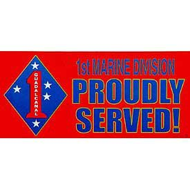 US Military Armed Forces Bumper Sticker - USMC Marines - United States Marines 1st Marine Division