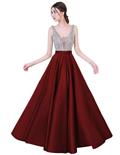 YuNuo Sparkly Crystal Beading Prom Dresses Long 2018 Sexy Open Back Party Ball Gown Scoop Bridesmaid Dresses S5 Burgundy 12