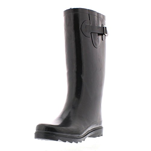 Gold Toe Women's Valinda Faux Fur Lined Tall Jelly Flat Rainboot Warm Insulated Wet Weather Outdoor Boots Black 8 M US