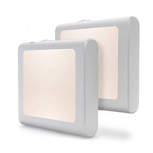 [2Pack] Vintar Dimmable LED Night Light, Plug-in Nightlight with Auto Dusk to Dawn Sensor,Adjustable Brightness Warm White Lights for Hallway,Bedroom, Kids Room, Kitchen, Stairway,Bathroom