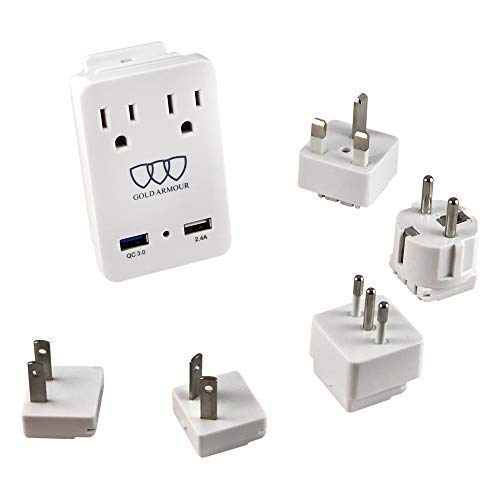 2000W International Travel Adapter Kit - AC Outlets + Quick Charge 3.0 and 2.4A USB Port with Worldwide Universal Wall Plugs for UK US AU Europe Italy Asia - Works for Hair Dryer & Hair Straightener