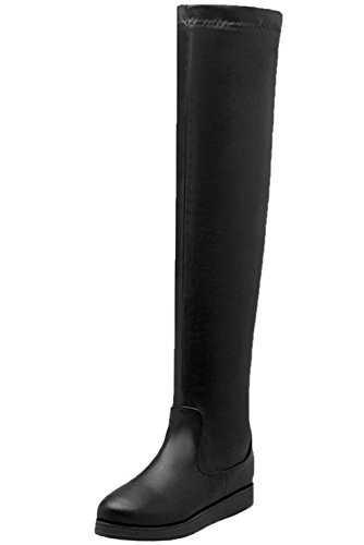 Warm Boots Winter Casual Black BIGTREE The Elastic Women Flat Black Long Boots Knee Autumn Over TvtwYt1qx