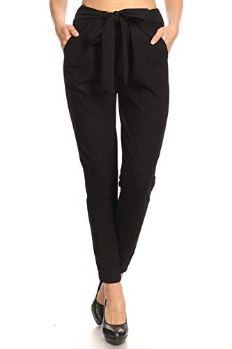 ShoSho Womens Loose Fit Jogger Harem Pants Casual Bottoms Twill Knit Semi Harem Solid Black X-Large