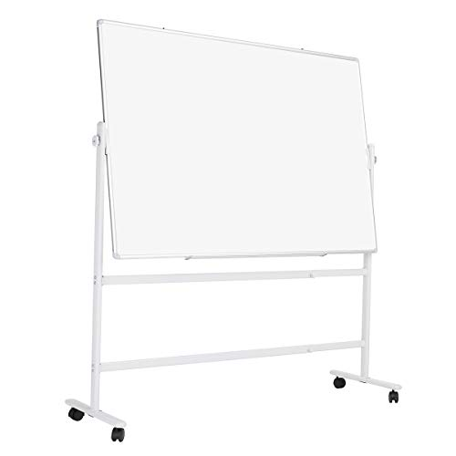 ZHIDIAN Double-Sided Magnetic Whiteboard with Stand Height-Adjustable, Mobile Dry Erase Board on Wheels, Aluminium Frame with Marker Tray, 48 x 36 inches whiteboard with Markers and Magnets
