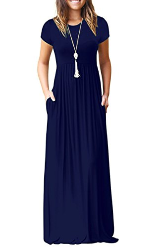AUSELILY Women's Short Sleeve Casual Loose Long Maxi Dresses with Pockets Navy Blue Medium