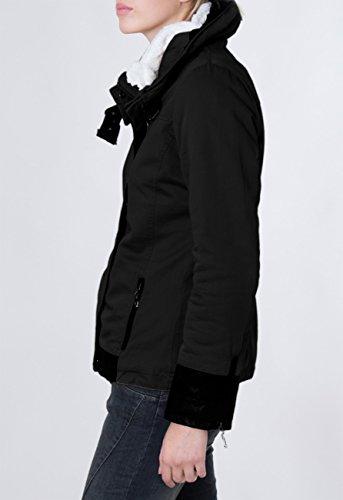Caspar Montant D'hiver Femme Noir Enroulable Et Capuche Pour Col Coloris Fourré Parka Veste Avec Plusieurs Jck004 UrqwaUp