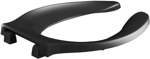- KOHLER K-4731-C-7 Stronghold Elongated Toilet Seat with Integrated Handle and Check Hinge, Black Black