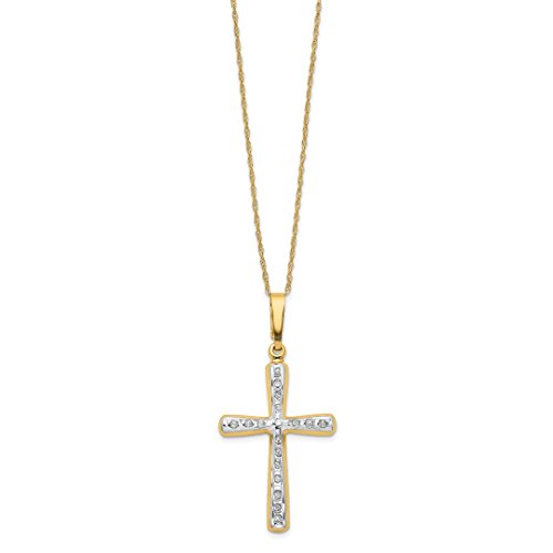 14k Diamond Fascination Cross - ICE CARATS 14kt Yellow Gold Diamond Fascination 18 Inch Cross Religious Chain Necklace Pendant Charm Crucifix Fine Jewelry Ideal Gifts For Women Gift Set From Heart