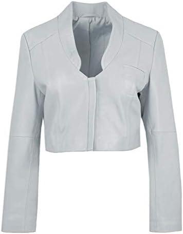 Etoile Vierge Womens Mini Leather Jacket in Opal Grey