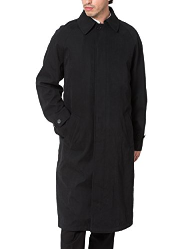 Cianni Men's Single Breasted Black Full Length All Year Round Raincoat 50L