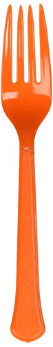 Heavy Weight Plastic Fork Orange Package of (Orange Dinner Fork)