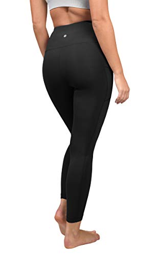 Yogalicious High Waist Ultra Soft Ankle Length Leggings with Pockets - Black - Small