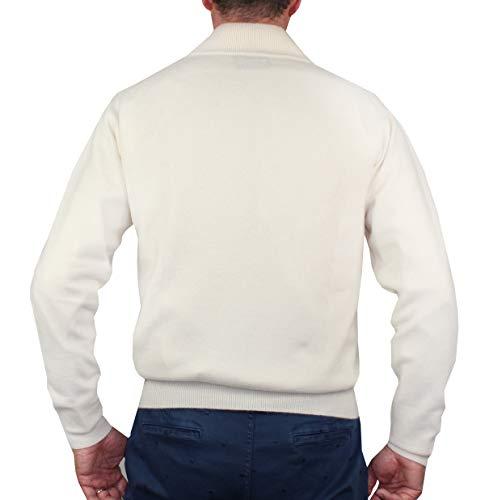 Panna Zip American Pullover Maglia A 100 Cachemire Uomo 1st Manica Cashmere Mezza Da Di Lunga Maglione Puro 4qwt5a