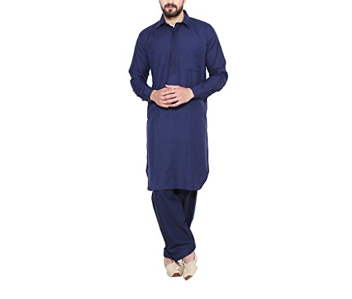 CRAFTSTRIBE Men'S Navy Blue Cotton Blend Pathani Kurta Salwar