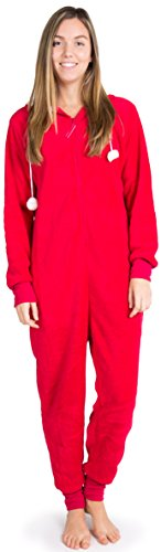Ragstock Women's Onesie Pajamas, Holiday-Red-Large ()
