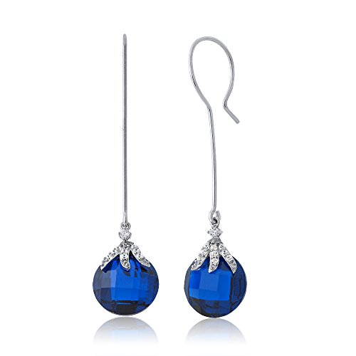 22.00 Ctw Simulated Blue Sapphire 925 Sterling Silver Dangle Earrings For (Boucheron Costume Jewellery)
