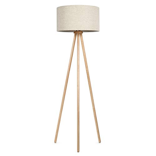 - Tomons Wood Frame Tripod Floor Lamp Standing Lamp for Living Reading Room Bedroom Offices Modern with Fabric Lampshade, 8W LED Bulb Included