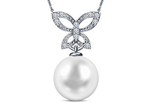 9 mm Akoya Cultured Pearl and 0.15 carat total weight diamond accent Necklace in 14KT White - Necklace Mastoloni Cultured Pearl