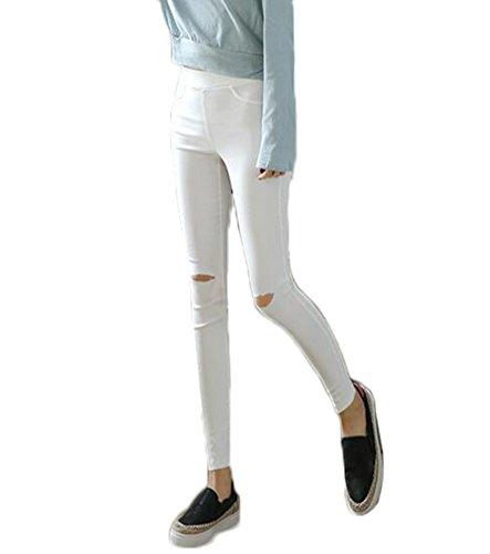 Blanc Pantalon Skinny Déchirés 1 Stretch Femmes Pantalons Taille Mileeo Mince Haute Crayon gqCwBRcZ