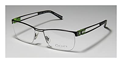 Oga 7029o Mens Rx-able Sleek Designer Half-rim Flexible Hinges Eyeglasses/Spectacles