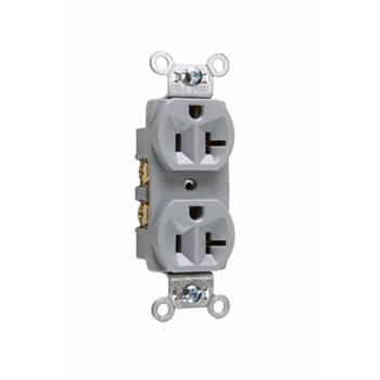 (P & S CR20GRY (4 Pack) Commercial Spec Grade Duplex Receptacle, 20A 125V, 5-20R, Gray)