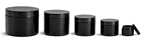 2 Oz. Black Polypropylene Plastic Double Wall Straight Sided Jars with Smooth Black PE Lined Caps (48 - Pe Lined Cap