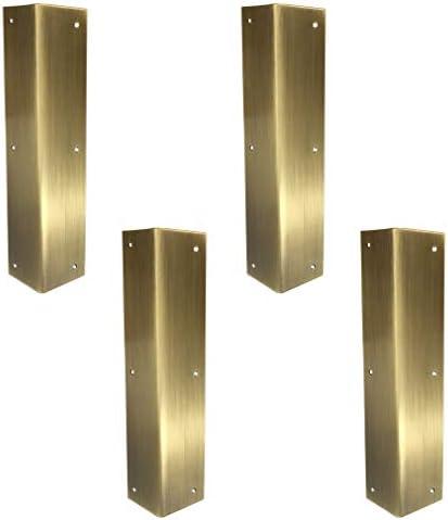 """Tiazza 4個 アンティーク 純真鍮 コーナープロテクター ブレース クラシック 家具テーブル 椅子 キャビネット コーナーガード 3.94""""x0.79""""/10x2cm"""