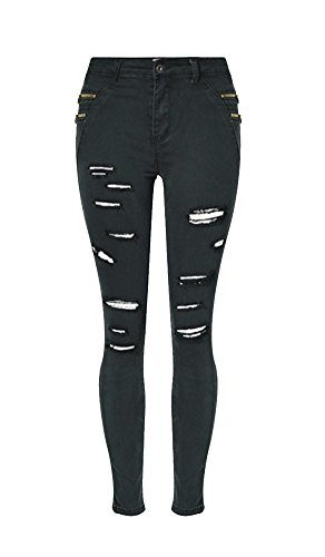 Pants Destroyed Holes Skinny Stylish Ripped 0119 Women's Angcoco Jean FqwRZvq