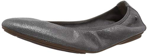 (Hush Puppies Women's Chaste Ballet Flat, Dark Grey/Metallic Suede, 7.5 N US)
