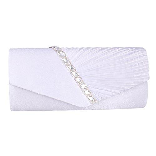 Satin avec de Or Diamants Soirée Main Soierie Blanc Sac Femme à Adoptfade Sac Pochette vqTnzwp