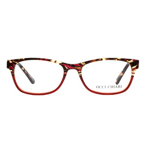 OCCI CHIARI Rectangle Stylish Eyewear Frame Non-prescription Eyeglasses With Clear Lenses Gifts for - Frames Prescription Glasses Red