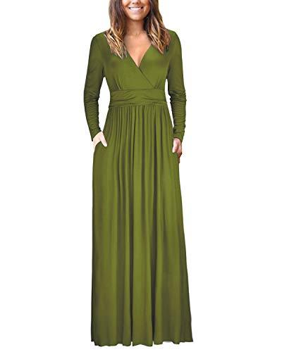 Wrap Long Spandex Sleeve (OUGES Womens Long Sleeve V-Neck Wrap Waist Maxi Dress(Army,S))