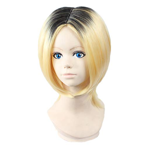 Angelaicos Men Lolita Halloween Cosplay Party Natural Bob Wig Short Black Blonde]()