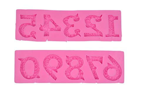 Alphabet Number 0-9 3d Silicone Mold Birthday Silicone Sugarcraft Mold Chocolate Fondant Candle Mold Cake Decoration for Baby Shower,Birthday,Anniversary ()