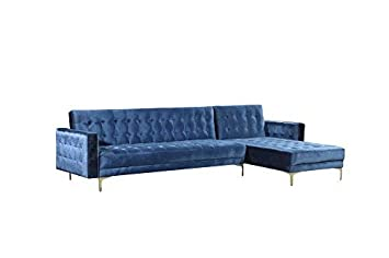 Iconic Home FSA9008-AN Amandal Convertible Sofa Sleeper Bed L Shape Chaise  Tufted Velvet Upholstered Gold Tone Metal Y-Leg Modern Contemporary, Right  ...