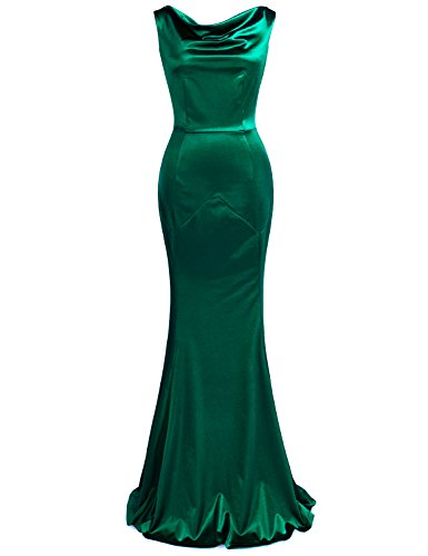 MUXXN Women's 30s Brief Elegant Mermaid Evening Dress (L, Green)