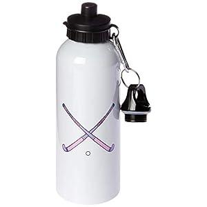 "3dRose wb_116322_1″Girls Womens Field Hockey Cross Sticks Pink Purple Sports Design"" Sports Water Bottle, 21 oz, White"