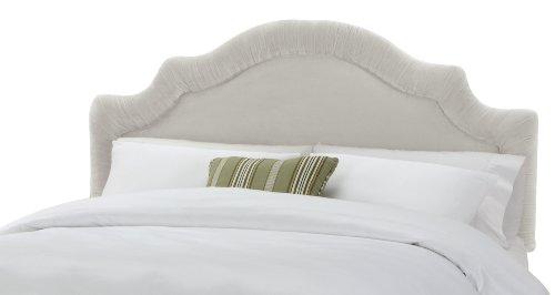 Arched Velvet Upholstered Headboard (Skyline Furniture Fremont Full Velvet-Upholstered Shirred Headboard, White)