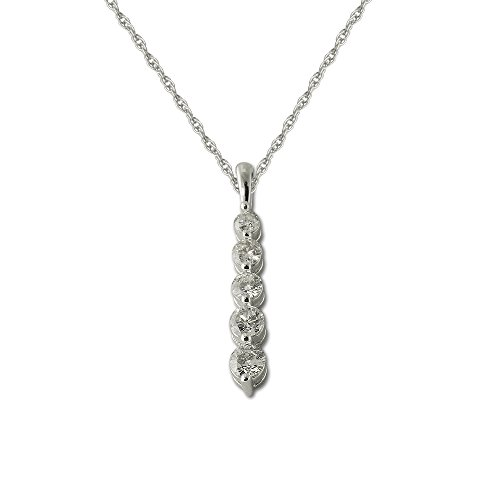 TriJewels AGS Certified Diamond Journey Pendant (SI2-I1, G-H) 1/2 ctw 14K White Gold 18