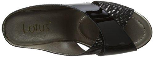 Lotus Trino - Sandalias con Punta Abierta Mujer Black (Black Patent/Snake)