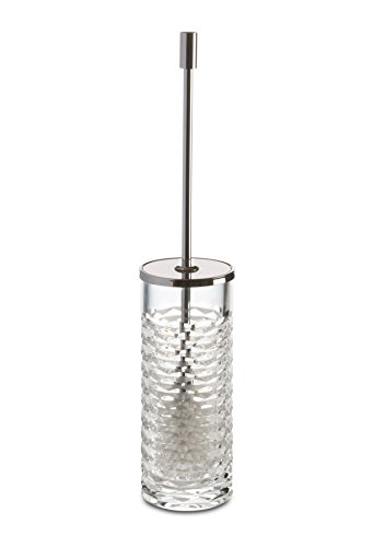 Luxe Round Wall Toilet Brush Bowl Holder W/ Lid Cleaner Set, Hand Blown Glass by W-Luxury