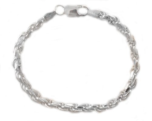20,3cm inch 5,4mm 21grammes Argent sterling Coupe diamant Corde Bracelet