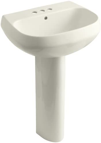 KOHLER K-2293-4-96 Wellworth Pedestal Bathroom Sink with 4 Centers, Biscuit