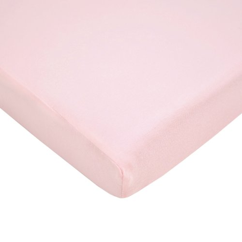 American Baby Company Fitted Mini-Crib Sheet, 100% Natural Supreme Cotton Jersey Knit, Pink, Soft Breathable, for Girls