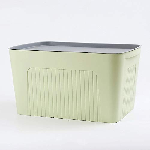 Pinjeer Modern 5 Colors Optional Plastic Storage Box with Lid Stackable Anti-dust Sorting Box Household Toys Clothes Quilt Wardrobe Finishing Box (Color : Green, Size : L)