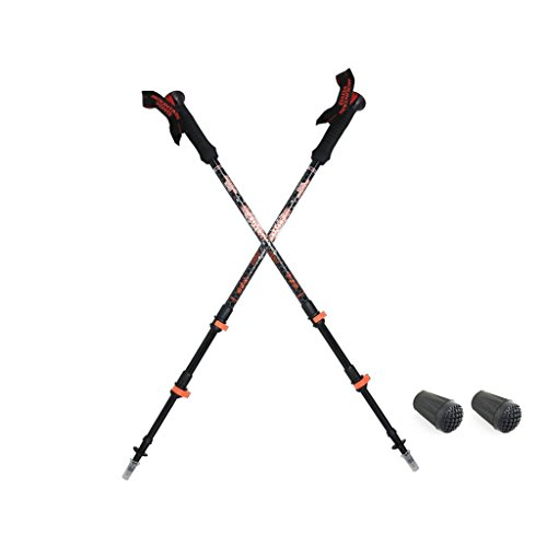 MOUNTAIN YOYO Discovery CF Flip Lock Light Weight Carbon Fiber 210g, 7.5oz Walking Pole Trekking Pole Walking Stick Telescoping Adjustable Men Women