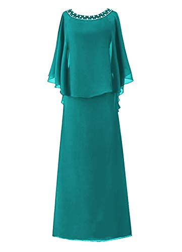 H.S.D Women's Cloak Flutter Sleeve Full Length Mother of The Bride Dress Jade (Jade Designer Mother Of The Bride Dresses)