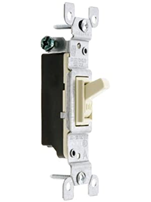 Leviton 15 Amp, 120V, Toggle Framed Single-Pole Ac Quiet Switch, Residential Grade, Grounding, Quickwire Push-In, Side Wired