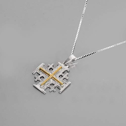 Holy Land Jerusalem Cross Pendant jewelry, 9K Gold & 925 sterling silver pendant, Exclusive Born Again Religious jewelry, Sterling silver necklace chain free - Cross Land
