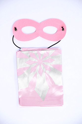 Light Pink Frozen Anna Super Hero Cape & Mask - Snowflake Super Hero Cape & Mask, Toddler Costume